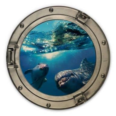 Wandcirkel Hout 3D Optiek - Dolfijnen