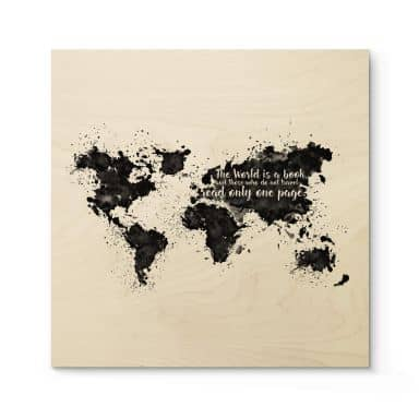 Houten Poster The World is a Book
