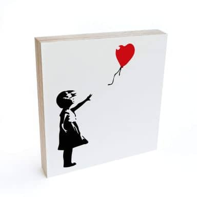 Holzbild zum Hinstellen - Banksy - Girl with the red balloon - 15x15 cm