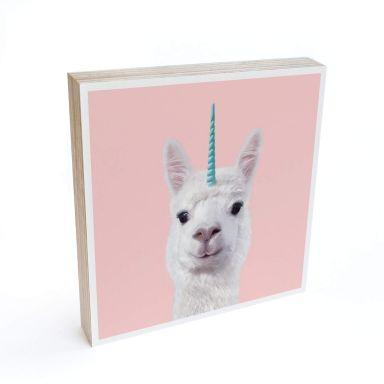 Houten Decoratieblok Fuentes - Alpaca Eenhoorn