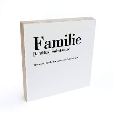 Holzbild zum Hinstellen - Grammatik - Familie - 15x15 cm