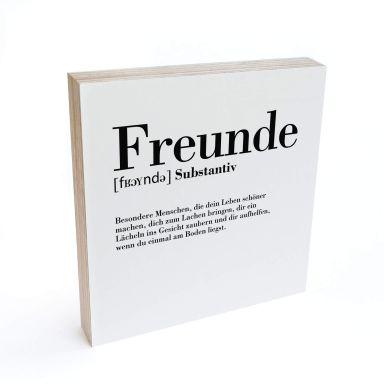Holzbild zum Hinstellen - Grammatik - Freunde - 15x15 cm