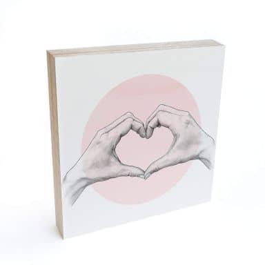 Holzbild zum Hinstellen - Graves - Heart in Hand - 15x15 cm