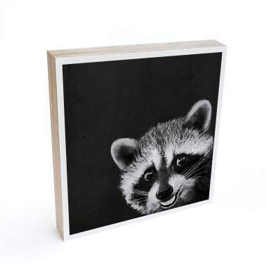 Holzbild zum Hinstellen - Graves - Racoon - 15x15 cm