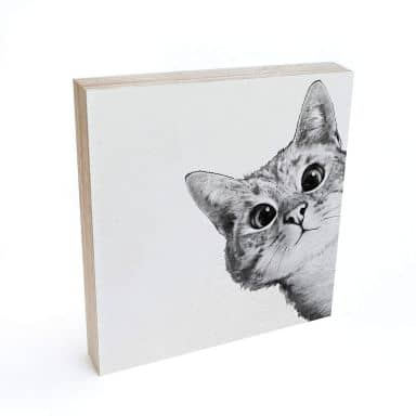 Holzbild zum Hinstellen - Graves - Sneaky Cat - 15x15 cm