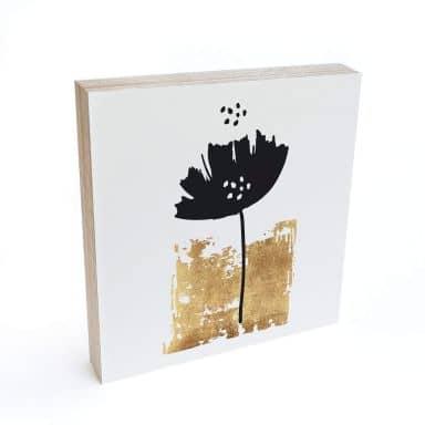 Holzbild zum Hinstellen - Kubistika - Schwarze Blume - 15x15 cm