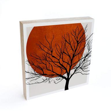 Holzbild zum Hinstellen - Kubistika - Warmer Sonnenuntergang - 15x15 cm