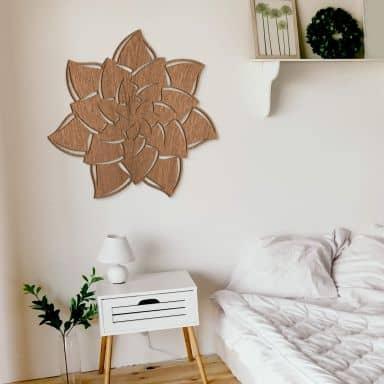 Holzkunst Mahagoni - Mandala Blume 02