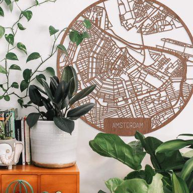 Holzkunst Mahagoni Stadtplan Amsterdam - Rund