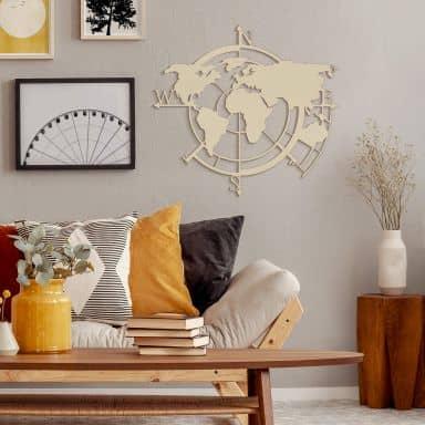 Holzkunst Pappel - Weltkarte Himmelsrichtungen 02