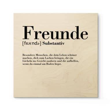 Holzbild Grammatik - Freunde - Quadratisch