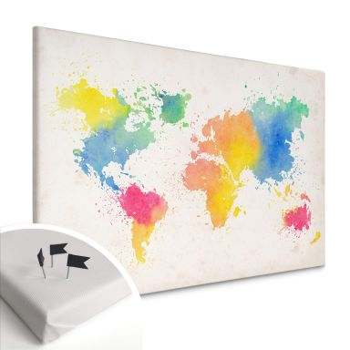 Tableau en liège - Toile - Carte du monde