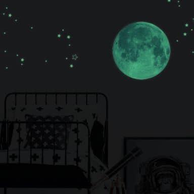 Glow in the Dark Muursticker Maan