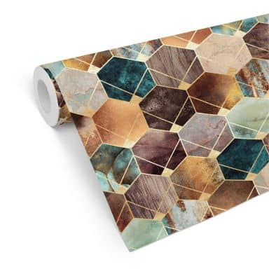 Patroonbehang Fredriksson - Gold & Copper Hexagons