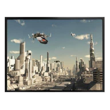 Poster - 3D Landeanflug Sci-Fi Stadt