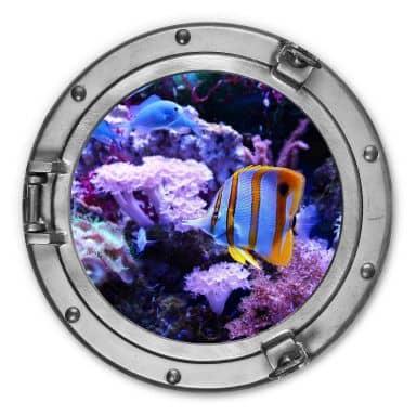 Alu-Dibond 3D Optik - Bunte Unterwasserwelt Lila Korallen - Rund