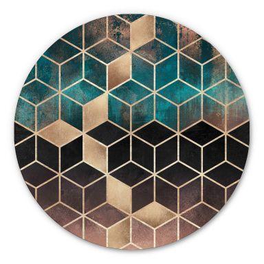 Wandcirkel Fredriksson - Gold Green Geometry
