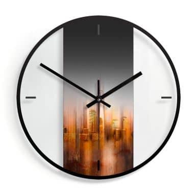 Wanduhr aus Glas - Chiriacò - New York im Abendlicht Ø30 cm