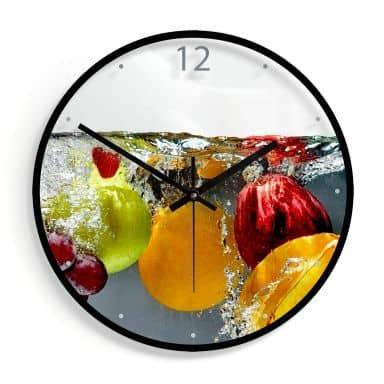Wanduhr aus Glas - Erfrischendes Obst Ø30 cm