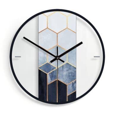 Wanduhr aus Glas - Fredriksson - Hexagone: Blau und Weiß Ø30 cm