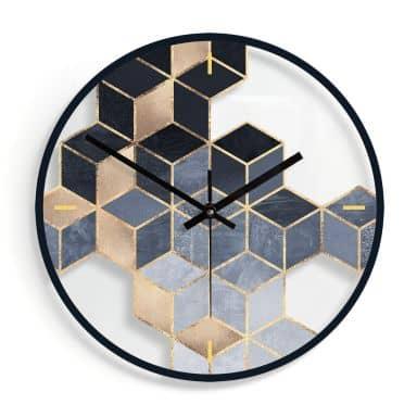 Horloge murale en verre - Géométrie bleue