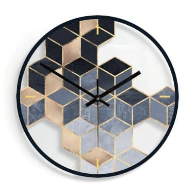 Wanduhr aus Glas - Fredriksson - Blaue Geometrie Ø30 cm