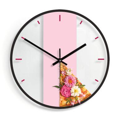 Wanduhr aus Glas - Fuentes - Pizza und Blumen Ø30 cm