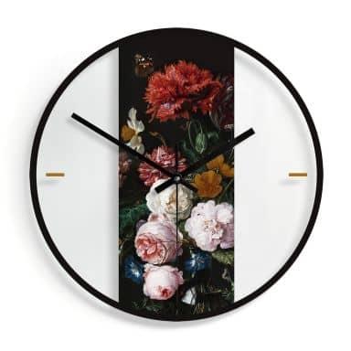 Glazen Wandklok de Heem - Stilleven met Bloemen in Vaas