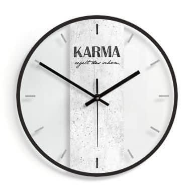 Wanduhr aus Glas - Karma regelt das schon Ø30 cm