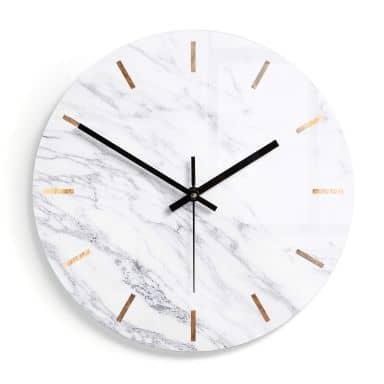 Wanduhr aus Glas - Marmor 04 - Ø30 cm