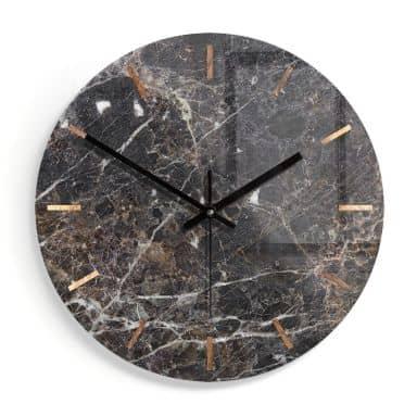 Wanduhr aus Glas - Marmor 08 - Ø30 cm