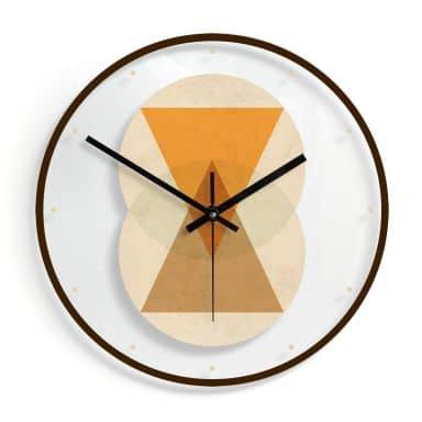 Glazen Wandklok Nouveauprints - Circles & Triangles