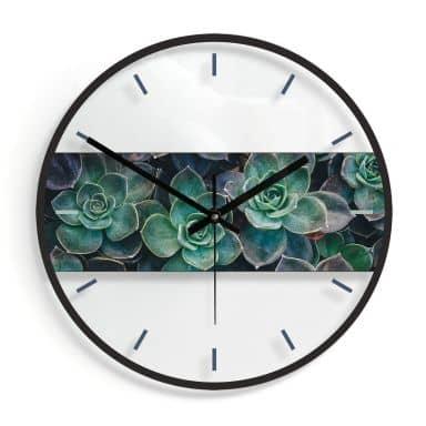 Glazen Wandklok - Succulenten