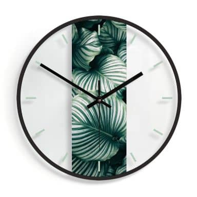Wanduhr aus Glas - Urban Jungle - Calathea Orbifolia Ø30 cm