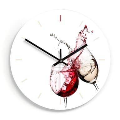Glazen Wandklok  Wijnglazen