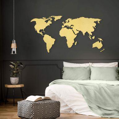 Wereldkaart goud effect aluminium