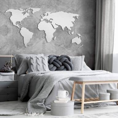 Wereldkaart zilver effect aluminium