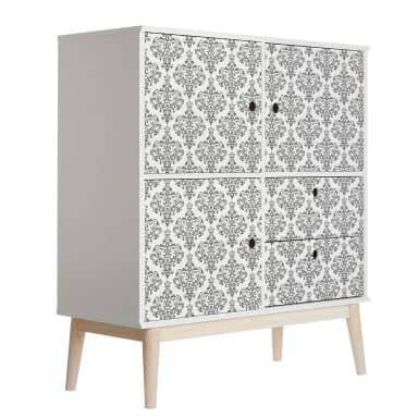 Sticker meuble, Film décoratif adhésif - lavable - Baroque gris