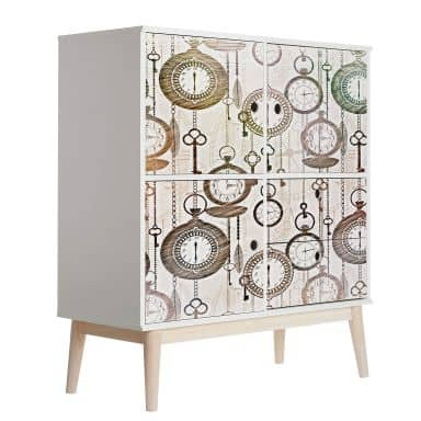 Sticker meuble, Film décoratif adhésif - lavable - Horloges vintage