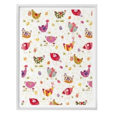Poster Blanz - Bunte Hühner