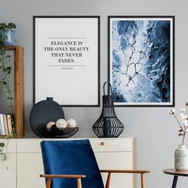 Assortiment affiches avec cadres - L'élegance en bleu