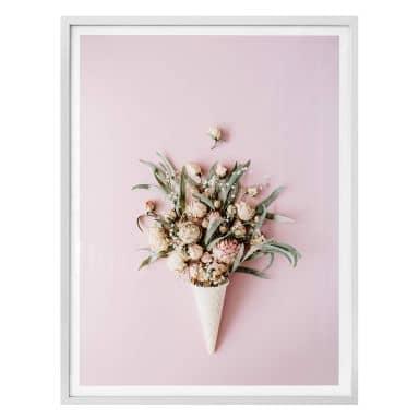 Poster Blüten in der Eistüte - rosa