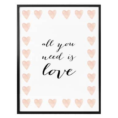 Poster Confetti & Cream - All you need is love