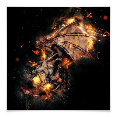 Poster Fireflight - quadratisch