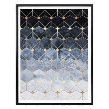 Poster Fredriksson - Hexagons - Blue and Gold