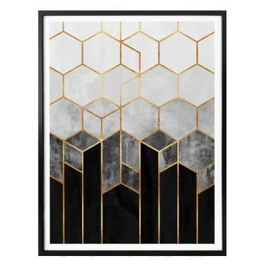 Frederiksson Plakat - Hexagon - Black and Grey