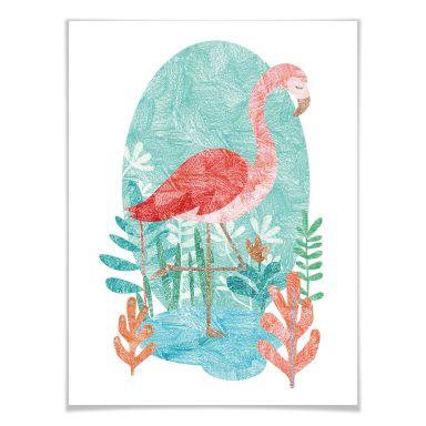 Poster Goed Blauw - Flamingo