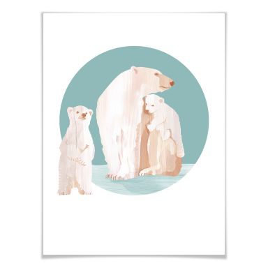 Poster Goed Blauw - Polar Bear Family