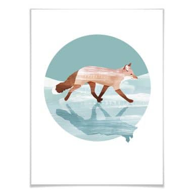 Poster Goed Blauw - Fuchs im Schnee