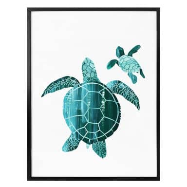Poster Goed Blauw - Family Turtle